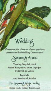 Sonam Kapoor - Anand Ahuja Wedding Invitation